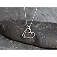 Sterling Silver Heart necklace - floating entwined heart pendant - love necklace - hammered heart - hand made in Cornwall - Genuine Real Silver - Mothers Day Gift