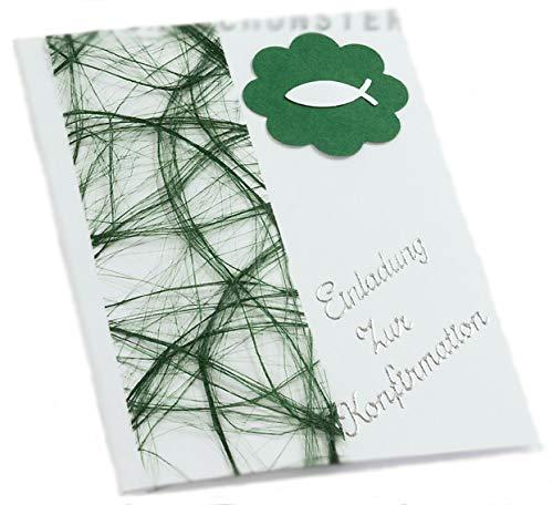 10 x Einladung Einladungskarte Konfirmation Einladungen KK018 (grün)