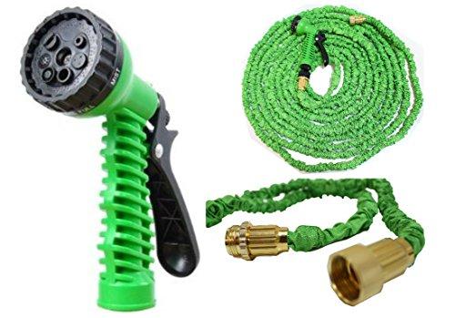 HTUK Tuyau d'arrosage extensible sans nœuds avec raccords en laiton résistant et pistolet, Green, 75FT