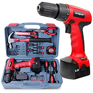 Hi-Spec 26 Piece Household DIY Power and Hand Tool Kit Set with 9.6V 1200mAh Li-Ion Rechargeable Cordless Drill Electric Screwdriver, LED Light, Hand Tools Storage Case