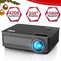 """Proyector, WiMiUS Video Proyector 4200 Lúmenes Soporta Full HD 1080P Proyector LED 55000 Horas Proyector HD con 200"""" Pantalla, Proyector Cine en casa con el Interfaz HDMI/ USB/ VGA/ AV - Negro"""