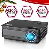 Vidéoprojecteur HD, WiMiUS Vidéo Projecteur 4200 Lumens Full HD Supporte 1080P Rétroprojecteur LED Projecteur Home Cinéma Compatible avec Amazon Firestick, Smartphone,Chromecast, TV Xbox, PS4, PC,etc