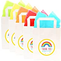 "Paper Party Bags with ""Thank You For Coming To My Party"" Design with Tissue Paper"
