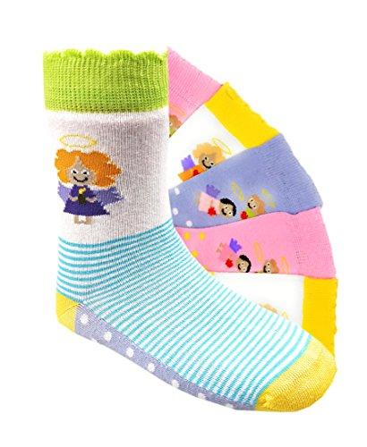 Kinder Socken handgekettelt Spitze ohne Naht 6 Paar aus besonders weicher Baumwolle bunter Mix Gr. 23-34 (27-30, Schutzengel)