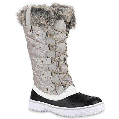Botas De Neve Botas Sapatos Quentes Botas De Inverno Alinhadas Das Mulheres Cinza Claro Preto