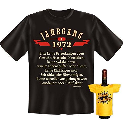 GoodmanDesign Geschenk Set zum 46. Geburtstag T-Shirt Jahrgang 1972 und HAPPY BIRTHDAY Flaschen Shirt Gr: L in schwarz : )