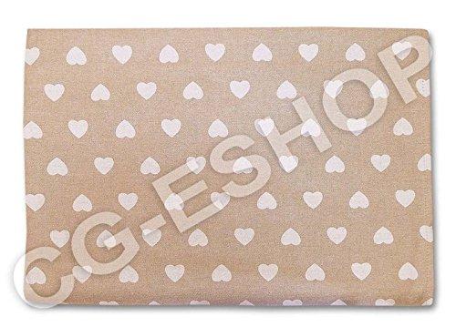 Tovaglia quadrata cotone tavolo quadrato 140x140 cm cuoricini cuore bianco