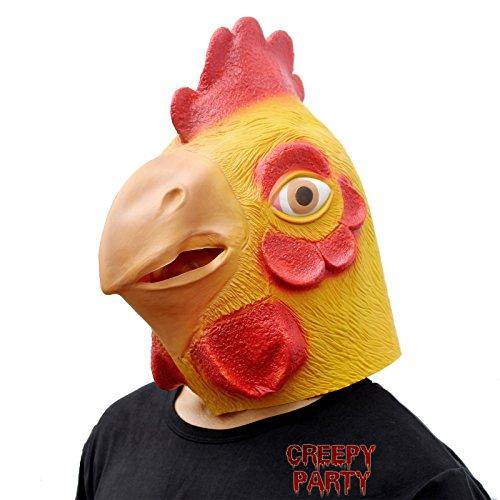 CreepyParty Deluxe Neuheit-Halloween-Kostüm-Party-Latex-Tierkopf-Schablone Masken Großer Hahn