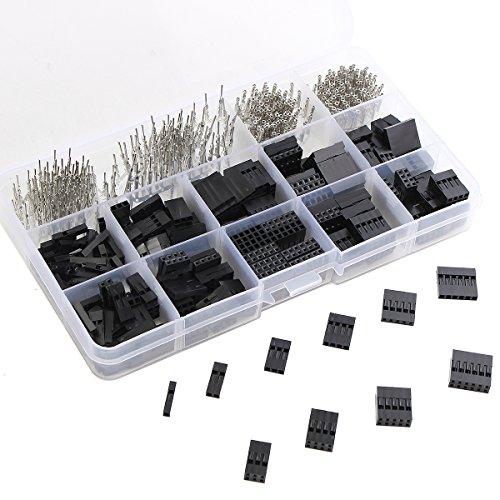 CHENXI Shop 610pcs 2,54mm Draht Jumper-Pin Header Stecker Gehäuse weiblich-Kit und M/F CRIMP Pins (18 Gauge Wire Connectors)