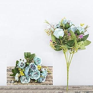 Flores Artificiales Ramo de claveles para el Regalo del día de la Madre Flores Falsas Decoración de la Boda Home Office Blossoms Decor – Azul