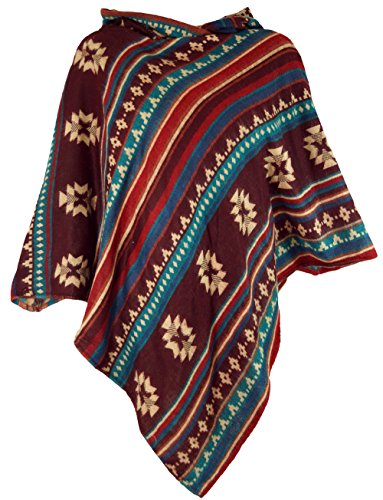 GURU-SHOP, Poncho Inca con Capucha, Poncho Goa Hippie Boho, Rojo Oxida