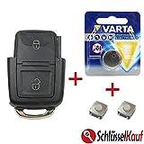 VW Schlüsselgehäuse Funk Fernbedienung Gehäuse Ersatz Reparatur SET für Volkswagen Seat Skoda Autoschlüssel Batterie Mikrotaster Neu