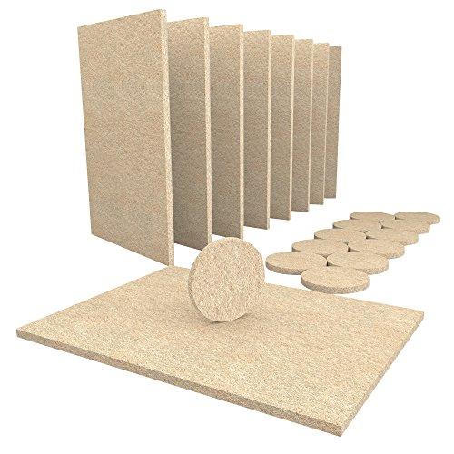 Simala - Juego de 20 almohadillas para muebles, 8 láminas grandes de fieltro de 15 x 11 cm autoadhesivas y 12 almohadillas redondas de 38 mm de fieltro para proteger suelos de madera y muebles