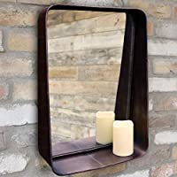 Ablerhome Decor Industrial Style Wall Mirror With Storage Shelf Distressed Rectangular Brown Metal Frame NEW (Industrial Wall Mirror)