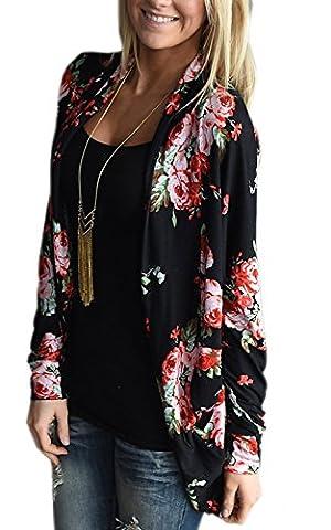 Veste Kimono Femme - Minetom Femmes Veste Damassée Été Floral Imprimé