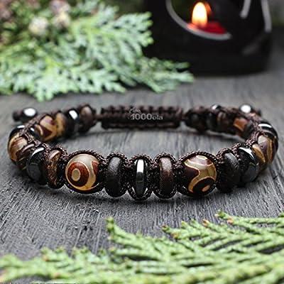 Bracelet Homme Style Shambala Perles Ø 8mm pierre naturelle Agate motif Tibétain Hématite Bois Coco/Cocotier fil nylon marron