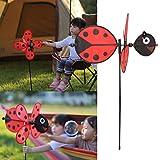 Hergon Biene Marienkäfer Windmühle - rotKunststoff Windmühle Windrad Wind Spinner Kinder Spielzeug Garten Rasen Party Decor Spielzeug Geschenk Für Jungen Mädchen Baby
