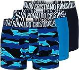 CR7 Cristiano Ronaldo - Basic - Retro-/Boxershorts für Herren mit All-Over-Print - 3-Pack - Blau/Navy - Grösse L | 6 | 52 (CR7-JBS-8110-49-2751-L)