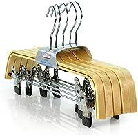 Hangerworld - Perchas (37cm)de Madera Laminada, con Pinzas de Metal - 10 Unidades