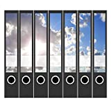 7 x Akten-Ordner Etiketten/Design Aufkleber/Rücken Sticker/mit Farbe Sonne durch Wolken/für schmale Ordner/selbstklebend / 3,7 cm breit/schmal/dünn