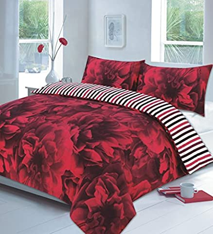 Duvet Cover Set Super King Size superKing With Pillowcases Reversible Quilt Bedding Set Poly Cotton , Rose