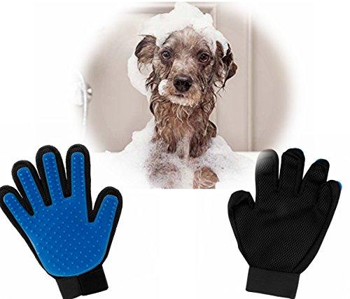 FEESHOW Haustier Badezubehör Dusche Massage Handschuhe Reinigungsbürste magische Handschuh Hund Katze Haar Massage Grooming