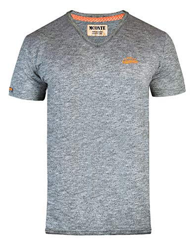 M.Conte Herren Fitness T-Shirt Sportstyle Kurzarm Stickerei Logo V-Kragen Grün Blau Purple Marine M L XL XXL Carl L, Phönix Grau -