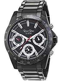 Ross Rino Sport reloj unisex de cuarzo con Negro esfera analógica pantalla y negro pulsera de acero inoxidable