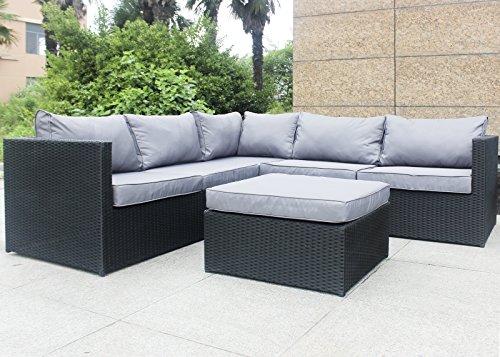 Aluminium Outdoor-möbel (Rattan Polyrattan Lounge Sitzgruppe Garnitur Gartenmöbel 5 Sitze mit Hocker, Aluminium Rahmen, Fertig Montiert!)