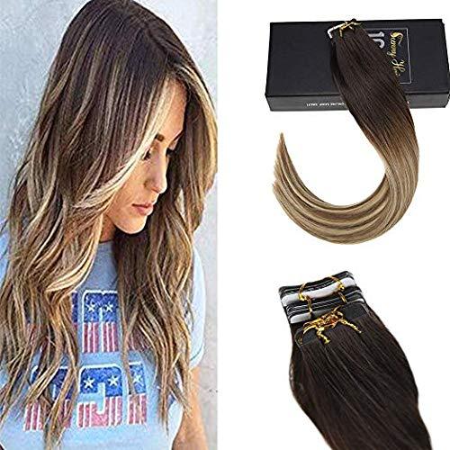 Sunny extension bioadesive capelli veri 40 fasce il marrone piu scuro 2# a marrone medio 6# con biondo chiaro 24# biadesivo extension 100% remy capelli veri umani lisci 18