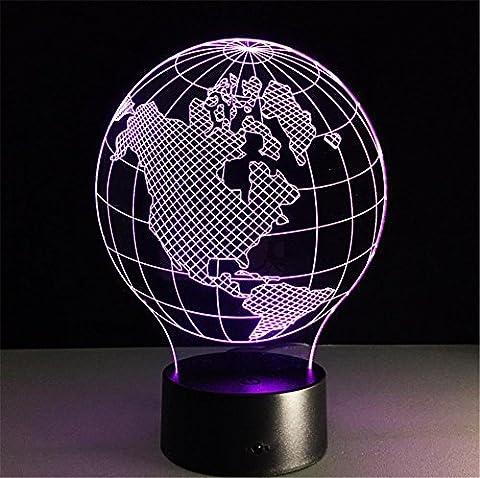 Tischleuchte Mittelamerika Karte Schreibtischlampe 3d 7 Farben ändern Touch-Fernbedienung Tabellen-Schalter-LED-Licht-Nachtbeleuchtung