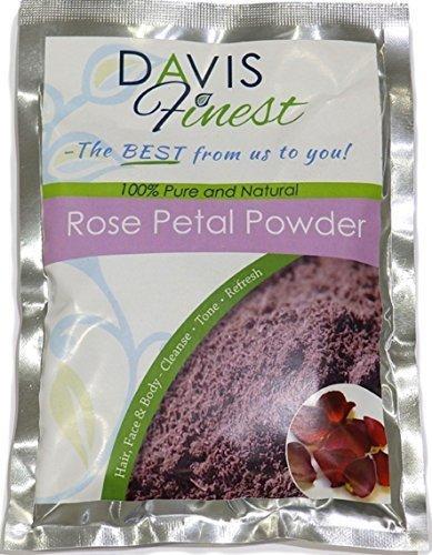 Davis Finest Pétale De Rose Poudre 100% Pure et Naturelle Premium Plante a Soin Peau Doit Avoir pour Masque Facial Parfum of Ton Rajeunir Cellules,Feuilles Radiant Incandescent Astringent 50g 100g - Rose, 100
