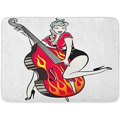 sodnz Fußmatte Red Comic Rockabilly Pinup Girl Spielen Kontrabass Flammen Retro Bandanna Fußmatten Bad Teppiche Outdoor/Indoor Badezimmer Dekor Teppich Fußmatte
