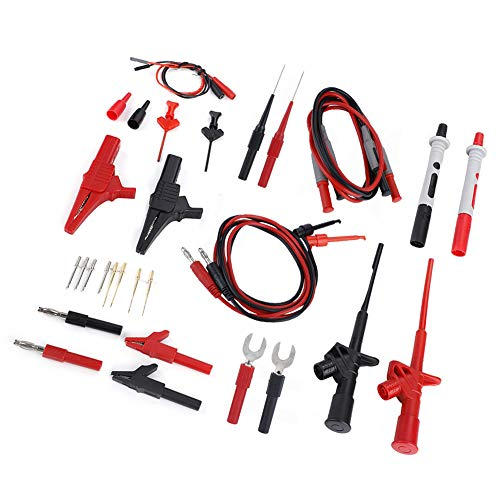 Akozon Elektronische Test Leads Kit, 4mm Bananenstecker Multimeter Messleitungen Multi Meter Test Lead Probe Kabelsatz Krokodilklemme Tester Stift Stecker Draht Kabel Verlängerungskabel Sonde Nadel
