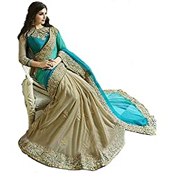 Sarees for Women Latest design Party Wear Today Offer sale buy in Low Price Sale Turquoise & Beige Color Georgette Lycra Fabric Free Size Ladies Sari