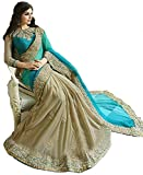 Sarees for Women Latest design for Party Wear Buy in Today Offer in Low Price Sale Turquoise Beige Color Georgette Lycra Fabric Free Size Ladies Sari