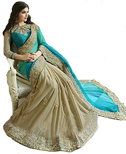Arawins-Womens-Clothing-Low-Price-Sale-Offer-Party-Wear-Collection-Lycra-Turquoise-Color-Free-Size-Saree-With-Unstitched-Blouse-Piece