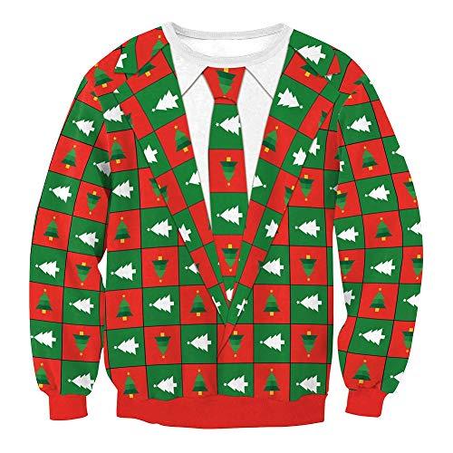 Pullover Für Weihnachten, Weihnachtskleid Für Männer Und Frauen, 3D Weihnachtsbaum Print Für Gefälschte Zweiteilige Sweatshirt, Für Weihnachtsfeier (Weihnachtsgeschenk),M