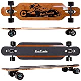 FunTomia Longboard aus Bambus und Fiberglas in 3 Flexstufen - Drop Through Komplettboard mit Mach1 High Speed Kugellager + T-Tool