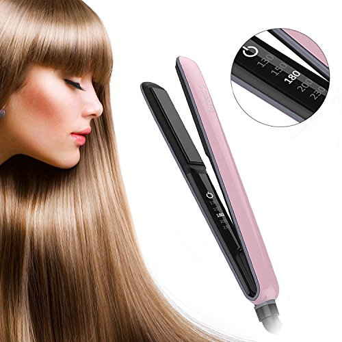 Haarglätter, SUMLIFE MCH Glätteisen Keramik Turmalin LED Touch-Schalter Sleek & Curl Haar Lockenstab mit Digitalem Display Profi Haarstyling Stylingeisen, Rosa