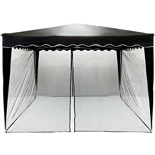 INSTENT® Moustiquaire pour Pavilion 3x3, Choix de Couleurs: Noir ou Blanc, Fermeture à glissière 2X avec des Sangles Velcro pour Fixer Le Panneau latéral pour Gazebo