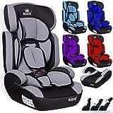 Kidiz® Autokindersitz Kinderautositz ✓ Gruppe 1+2+3 ✓ 9-36 kg ✓ Autositz ✓ Kindersitz | Stabil und Sicher | Farbe: Grau