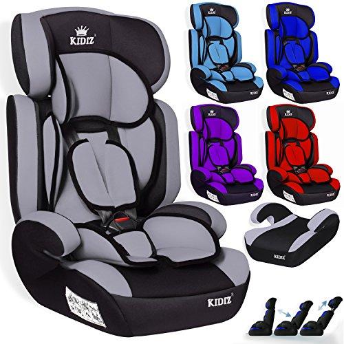 Preisvergleich Produktbild Kidiz Autokindersitz Kinderautositz  Gruppe 1+2+3  9-36 kg  Autositz  Kindersitz | Stabil und Sicher | Farbe: Grau