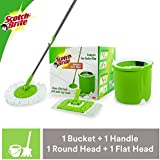 Scotch-Brite Jumper Spin Mop with 1 Round & 1 Flat Mop Refill