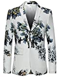 MOGU Herren Slim Fit Floral Weiß Blazer DE 50(Asia 4XL) Weiß