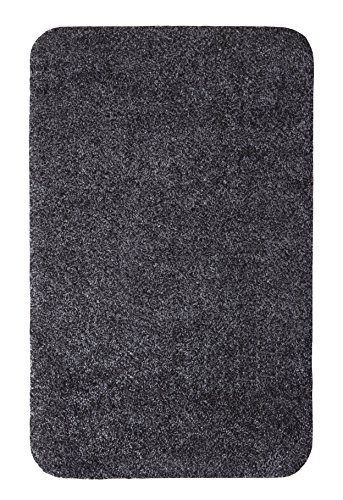 andiamo 700607 Schmutzfangmatte Samson / Waschbare Eingangsmatte aus Baumwolle in Anthrazit für den Innenbereich / 1 x Türmatte (50 x 80 cm)