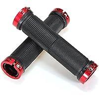 Puños de Bicicleta, OUTERDO Caucho Diseño Antideslizante para Todas las Bicicletas Rojo
