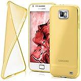 moex Samsung Galaxy S2 | Hülle Silikon Transparent Gold Clear Back-Cover TPU Schutzhülle Dünn Handyhülle für Samsung Galaxy S2 / S2 Plus SII Case Ultra-Slim Silikonhülle Rückseite