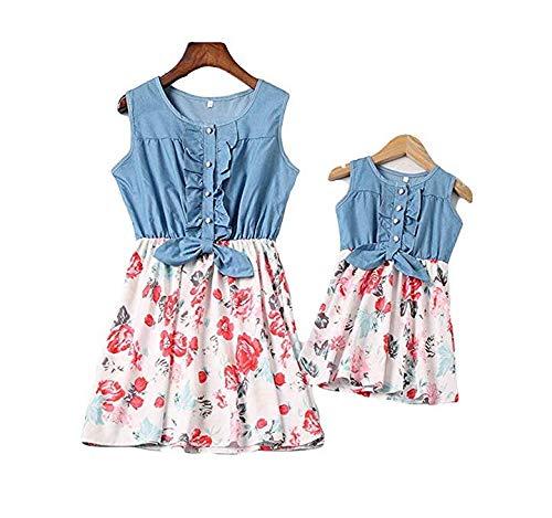 Vestiti Eleganti Mamma E Figlia.Loalirando Madre E Figlia Abiti Estivi Stampa Floreale Abiti