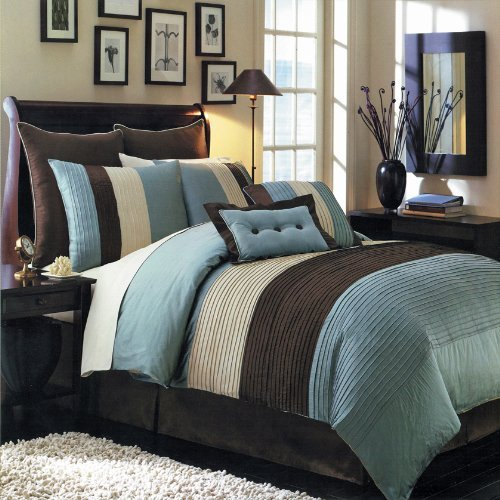 Egyptian Cotton Factory Store Full Size Blue Hudson Luxury 8-Piece Comforter Set